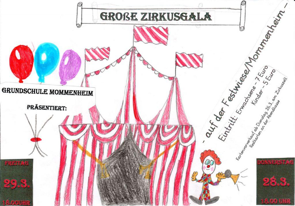 Zelt mit Ballons und Clown